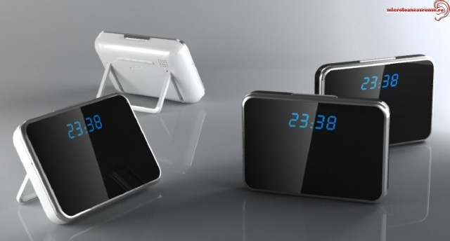 Ceas de birou cu mini camere video spy cu senzor de miscare