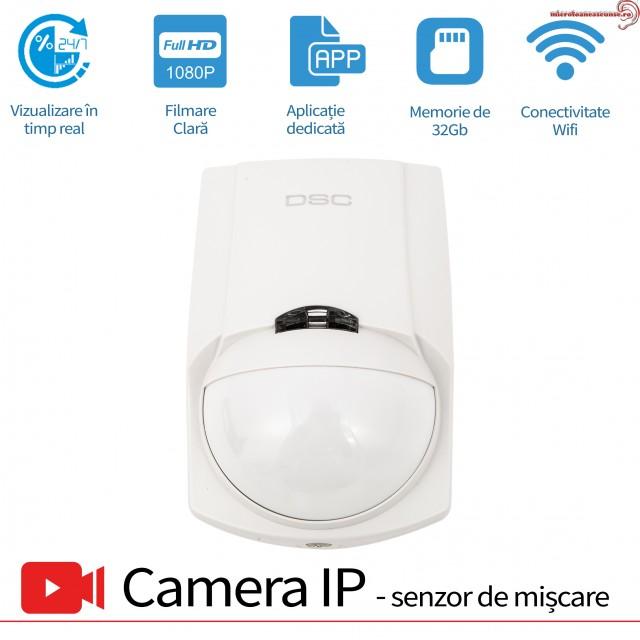 Senzor de Prezenta PIR cu Minicamera Video pentru Spionaj WI-FI IP P2P, Senzor de Miscare, 1920x1080p, 32Gb