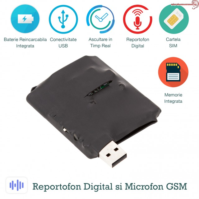 Modul microfon spy hibrid ACCOMB73 - GSM + Reportofon spy -  activare vocala - 73 de ore