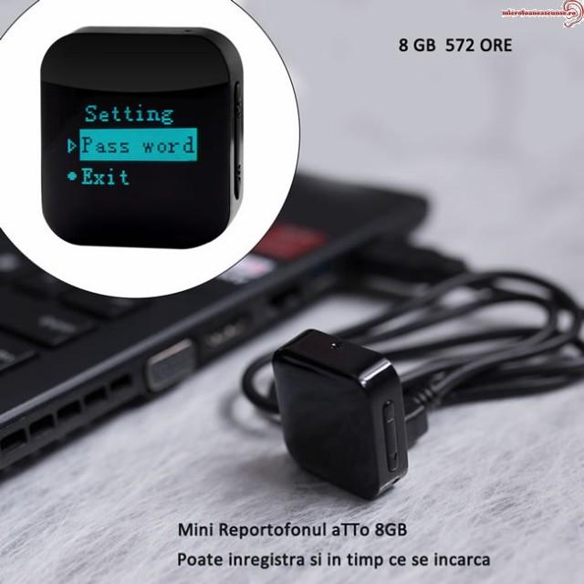 Locatii de Ascundere pentru Reportofon Spion Minuscul cu Parola si Activare Vocala Setabila 8GB-572 de ore - 1536 kbps – aTTo 8GB