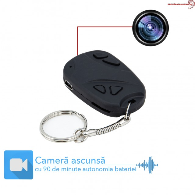 Minicamera Video Spy Mascata in Breloc - Telecomanda Auto, 8GB