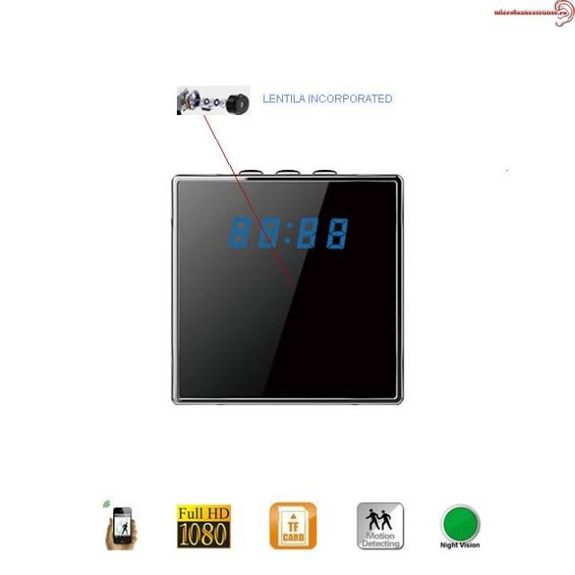 Camera IP WIFI+ DVR 32 Gb ,senzor de miscare ascunsa in ceas de birou