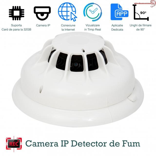 Senzor de fum mini camera spy WI-FI IP P2P , 32 Gb, 1920x1080p , Detectie Miscare, DFCSWIIP121