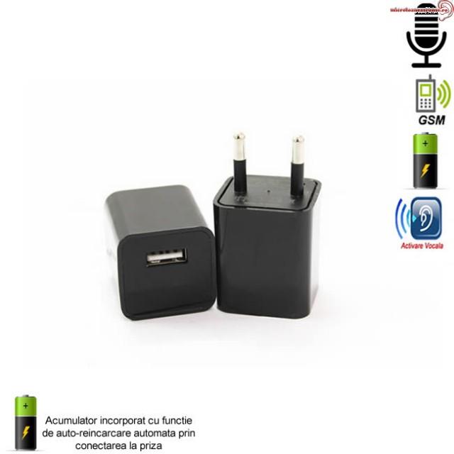Microfon spion GSM mascat in incarcator usb de telefon - model cu functie de activare vocala