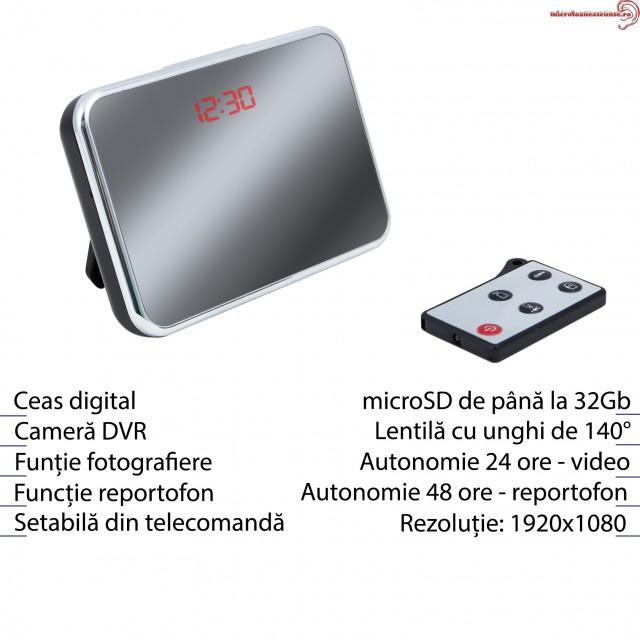 Cameră Video Spion HD în Ceas de Birou cu Telecomandă și Senzor de Mișcare, 5 Mp, JSCM089