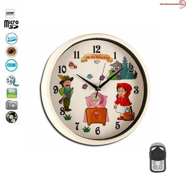 Ceas de perete camera spion Full HD cu design animat pentru camera copiilor,