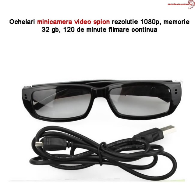 Microcamera video spion mascata in ochelari,  lentila integrated