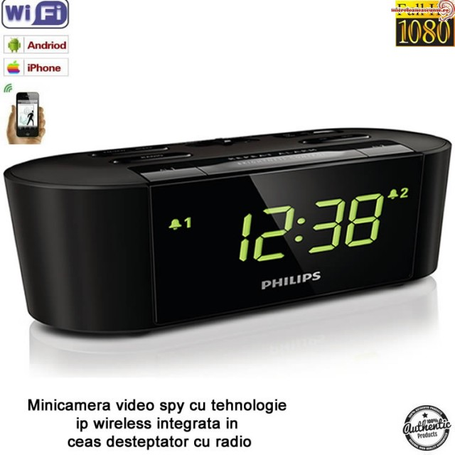 Micro camera video  WI-FI IP P2P, 32Gb camuflata in ceas de birou cu radio