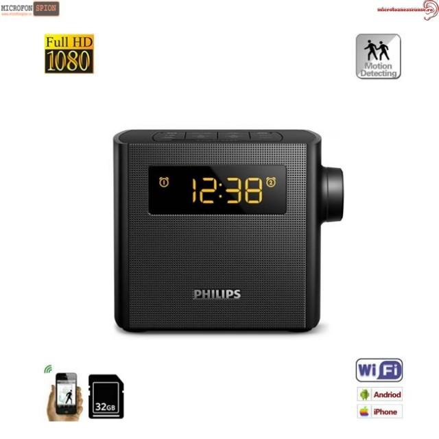 Micro Camera Video Spion Wi-Fi P2P Mascata in Ceas cu Radio – Lentila 100% Nedetectabila