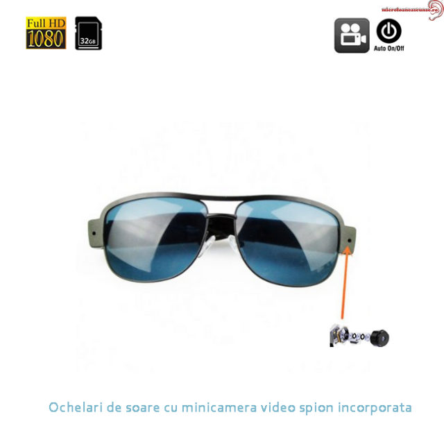 Ochelari de soare cu mini camera video spion full HD, 32Gb