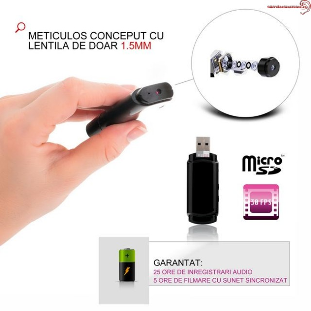 Reportofon spy si microcamera spy in stick USB de memorie