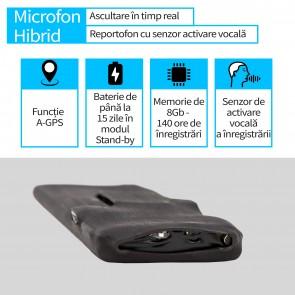 Microfon GSM Hibrid cu Activare Vocala+Reportofon 8Gb+AGPS, 15 Zile Autonomie, Sunet UltraClear, Model Profesional ULTRABUG140