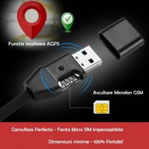 Cablu USB Pentru Telefon (Android/IOS ) cu Microfon spion GSM cu Activare Vocala+Functie de GPS TRACKER