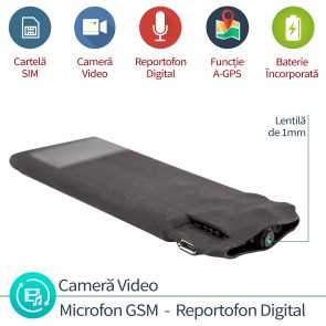 Modul microfon de spionaj hibrid profesional cu minicamera video + microfon gsm cu activare vocala + reportofon + AGPS , RIBCAM008 , 4mm grosime , 2799 ore