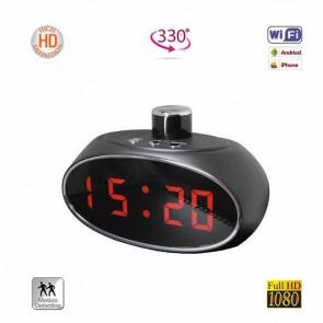 Ceas de Birou cu Radio si Modul Camera Wifi, Ip, P2P, DVR, Unghi 360 Grade