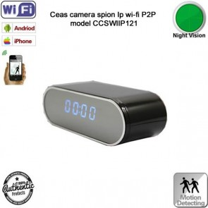 Micro camera video in ceas de birou wi-fi ip p2p cu night vision