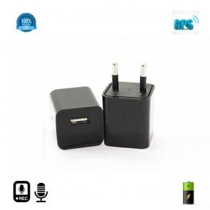 Reportofon spion 2400 ore + microfon gsm cu ascultare in timp real + agps in incarcator USB negru ITBRIB008