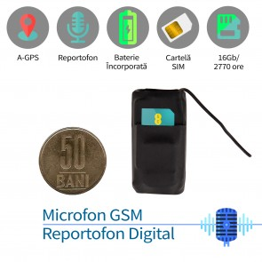Microfon spy HIBRID - microfon gsm cu detectie voce + reportofon 2999 ore + agps, model profesional