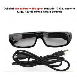 Microcamera video spion mascata in ochelari,  lentila integrated