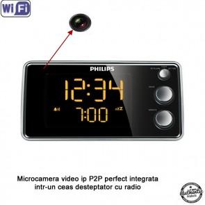 Ceas de birou cu radio si camera spionaj WI-FI IP P2P