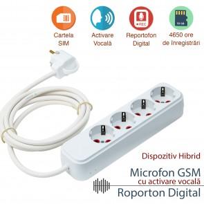 Prelungitor tripla cu microfon spy hibrid GSM + reportofon 4650 ore PTRIB008